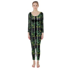 Bamboo Pattern Long Sleeve Catsuit