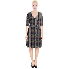 Bamboo Pattern Wrap Up Cocktail Dress