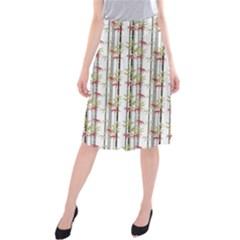 Bamboo Pattern Midi Beach Skirt