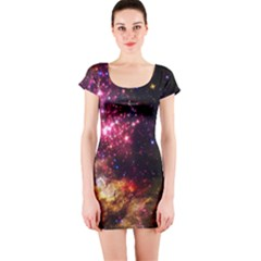 Space Colors Short Sleeve Bodycon Dress