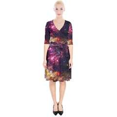Space Colors Wrap Up Cocktail Dress