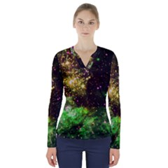 Space Colors V Neck Long Sleeve Top