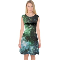 Space Colors Capsleeve Midi Dress