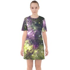 Space Colors Sixties Short Sleeve Mini Dress