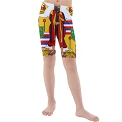 Kingdom Of Hawaii Coat Of Arms, 1795 1850 Kids  Mid Length Swim Shorts