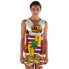 Kingdom Of Hawaii Coat Of Arms, 1795 1850 Wrap Front Bodycon Dress