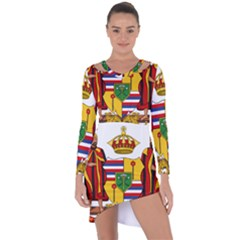 Kingdom Of Hawaii Coat Of Arms, 1795 1850 Asymmetric Cut Out Shift Dress