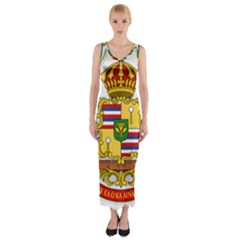 Kingdom Of Hawaii Coat Of Arms, 1850 1893 Fitted Maxi Dress