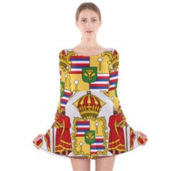 Kingdom Of Hawaii Coat Of Arms, 1850 1893 Long Sleeve Velvet Skater Dress