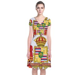 Kingdom Of Hawaii Coat Of Arms, 1850 1893 Short Sleeve Front Wrap Dress