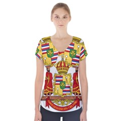 Kingdom Of Hawaii Coat Of Arms, 1850 1893 Short Sleeve Front Detail Top
