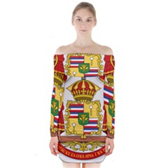 Kingdom Of Hawaii Coat Of Arms, 1850 1893 Long Sleeve Off Shoulder Dress