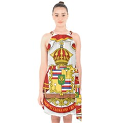 Kingdom Of Hawaii Coat Of Arms, 1850 1893 Halter Collar Waist Tie Chiffon Dress