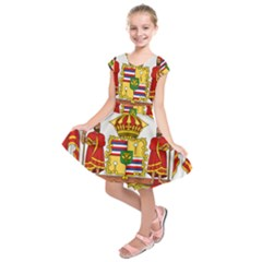 Kingdom Of Hawaii Coat Of Arms, 1850 1893 Kids  Short Sleeve Dress
