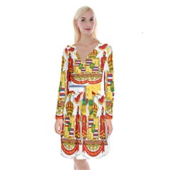 Kingdom Of Hawaii Coat Of Arms, 1850 1893 Long Sleeve Velvet Front Wrap Dress
