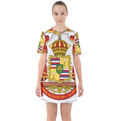 Kingdom Of Hawaii Coat Of Arms, 1850 1893 Sixties Short Sleeve Mini Dress