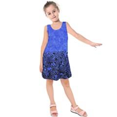 Modern Paperprint Blue Kids  Sleeveless Dress