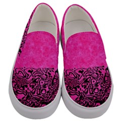 Modern Paperprint Hot Pink Men s Canvas Slip Ons