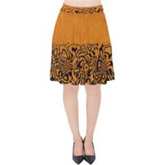Modern Paperprint Terra Velvet High Waist Skirt