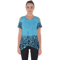 Modern Paperprint Turquoise Cut Out Side Drop Tee