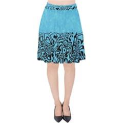 Modern Paperprint Turquoise Velvet High Waist Skirt