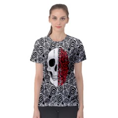 Black & White Swirls & Skull Women s Sport Mesh Tee