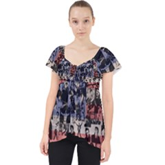 Elvis Presley Pattern Lace Front Dolly Top