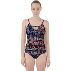 Elvis Presley Pattern Cut Out Top Tankini Set