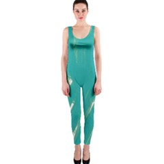 Background Green Abstract Onepiece Catsuit