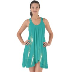 Background Green Abstract Show Some Back Chiffon Dress