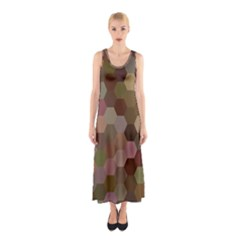 Brown Background Layout Polygon Sleeveless Maxi Dress