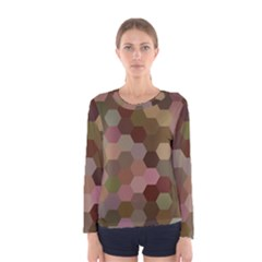 Brown Background Layout Polygon Women s Long Sleeve Tee
