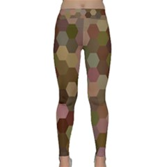 Brown Background Layout Polygon Classic Yoga Leggings