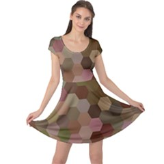 Brown Background Layout Polygon Cap Sleeve Dress