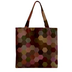 Brown Background Layout Polygon Zipper Grocery Tote Bag