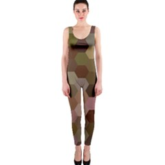Brown Background Layout Polygon Onepiece Catsuit