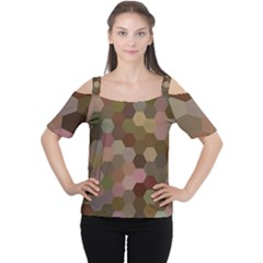 Brown Background Layout Polygon Cutout Shoulder Tee