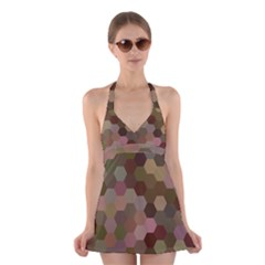 Brown Background Layout Polygon Halter Swimsuit Dress