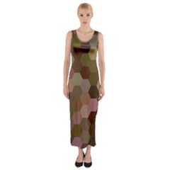 Brown Background Layout Polygon Fitted Maxi Dress