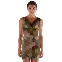 Brown Background Layout Polygon Wrap Front Bodycon Dress