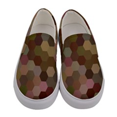 Brown Background Layout Polygon Women s Canvas Slip Ons
