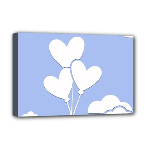 Clouds Sky Air Balloons Heart Blue Deluxe Canvas 18  X 12
