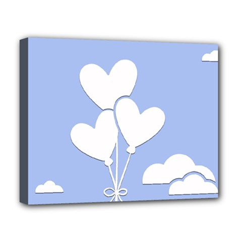 Clouds Sky Air Balloons Heart Blue Deluxe Canvas 20  X 16