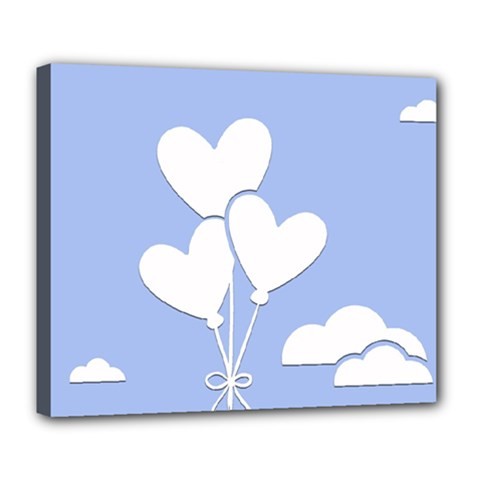 Clouds Sky Air Balloons Heart Blue Deluxe Canvas 24  X 20
