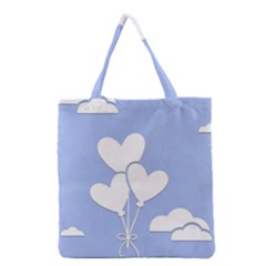 Clouds Sky Air Balloons Heart Blue Grocery Tote Bag