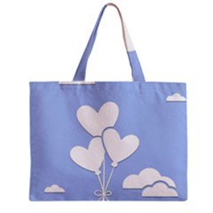Clouds Sky Air Balloons Heart Blue Zipper Mini Tote Bag