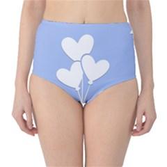 Clouds Sky Air Balloons Heart Blue High Waist Bikini Bottoms