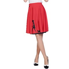 Girl Cat Scary Red Animal Pet A Line Skirt