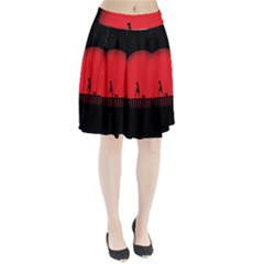 Girl Cat Scary Red Animal Pet Pleated Skirt