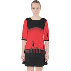 Girl Cat Scary Red Animal Pet Pocket Dress